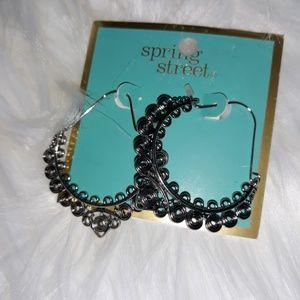 Silver metal earrings